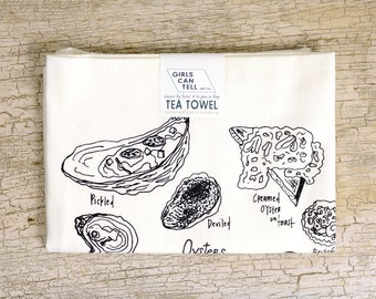 Oyster Preparations Tea Towel, Oyster Towel, Kitchen Towel, Apartment dish Towel, White Cotton Towel, Housewarming Gift, Foodie Gift