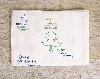 Maine Flag Tea Towel, , Outdoor Lover's Gift, United States Gift, Kitchen Towel, Gift for New England, Mainers, Housewarming Gift, Floursack