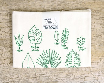 Houseplants Kitchen Towels Floursack Cotton towels Plants Illustration Hand Drawn Towels Gifts for Men Plant Lover Gift Housewares Gift