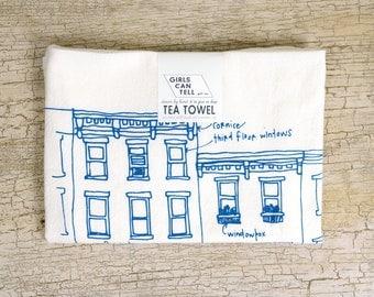 Rowhouses Tea Towel, City Tea Towel, Brownstones, Kitchen Towel, Apartment dish Towel, White Cotton Dish Towel, Housewarming Gift Hostess