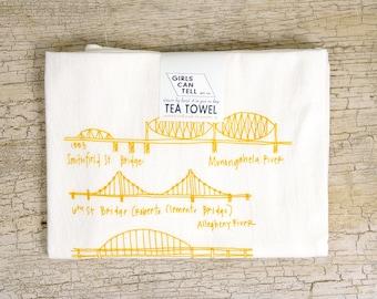 Pittsburgh Bridges Towel, Pittsburgh Kitchen Towel, Tea Towel, PGH Hand Towel, Pittsburgh gift, white cotton towel, wedding gift