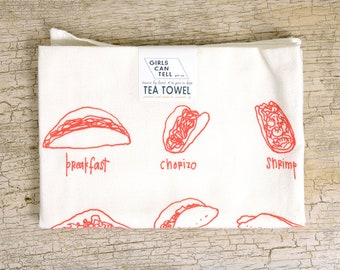 Tacos Tea Towel, Tacos Towel, Kitchen Towel, Apartment dish Towel, White Cotton Towel, Housewarming Gift, Taco Lover, Foodie Gift, Tacos