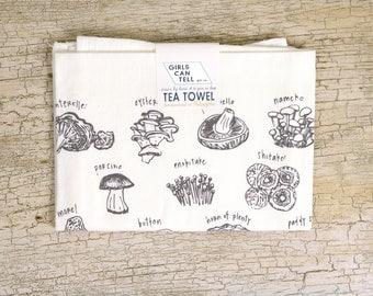 Mushrooms Tea Towel, Mushroom Towel, Kitchen Towel, Apartment dish Towel, White Cotton Towel, Housewarming Gift, Mushroom Lover, Foodie Gift