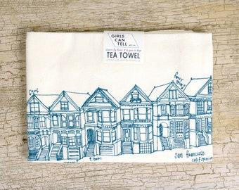 Painted Ladies Tea Towel, San Francisco Tea Towel, Housewarming Gift, San Francisco Gift, Painted Ladies, San Francisco Landmark, California
