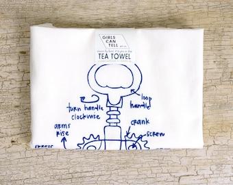 Wine Corkscrew Tea Towel - white cotton floursack kitchen towel