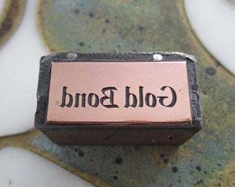 Gold Bond Vintage Letterpress Printing Block Advertising Logo
