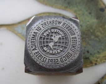 United Rubber Workers of America Antique Letterpress Printing Block