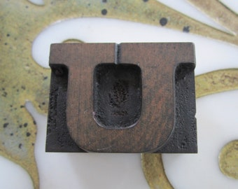 Letter U Antique Letterpress Wood Type Printing Block