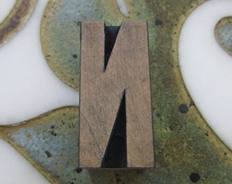 Letter N Antique Letterpress Wood Type Printing Block
