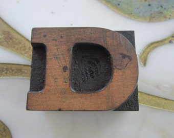 Letter D Antique Letterpress Wood Type Printing Block