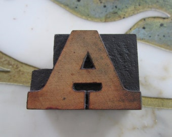 Letter A Antique Letterpress Wood Type Printing Block