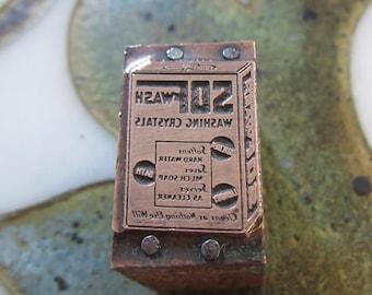 Sofwash Washing Crystals Antique Letterpress Printing Block