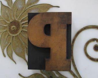 Letter P Antique Letterpress Wood Type Printers Block