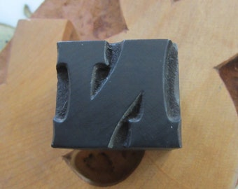 Antique Letterpress Wood Type Printers Block Letter N