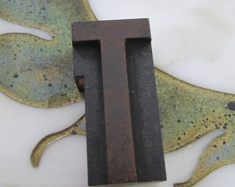 Letter T Antique Letterpress Wood Type Printing Block