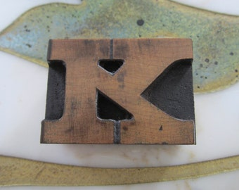 Letter K Antique Letterpress Wood Type Printing Block