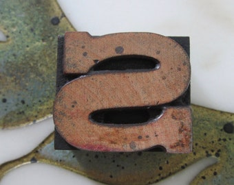 Letter S Antique Letterpress Wood Type Printing Block