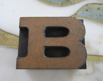 Letter B Antique Letterpress Wood Type Printing Block