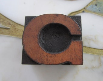 Letter C Antique Letterpress Wood Type Printing Block
