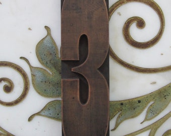 "10"" Number 3 Three Antique Letterpress Wood Type Printing Block"