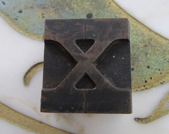 Letter X Antique Letterpress Wood Type Printing Block