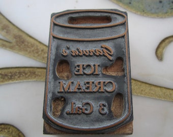 Garvin's Ice Cream Vintage Letterpress Printing Block