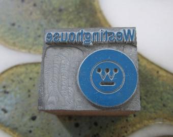 Antique Letterpress Metal Printers Block Westinghouse Electric Logo