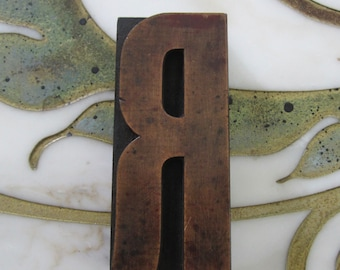 "4"" Letter R Antique Letterpress Wood Type Printers Block"