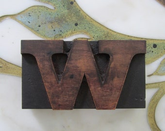 Letter W Antique Letterpress Wood Type Printing Block Wide