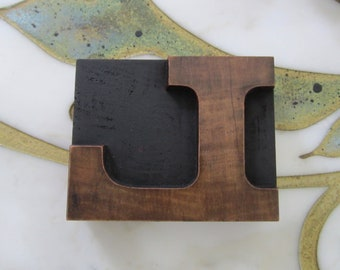 Letter L Antique Letterpress Wood Type Printing Block Wide