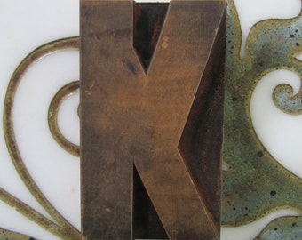 Large Letter K Antique Letterpress Wood Type Printers Block