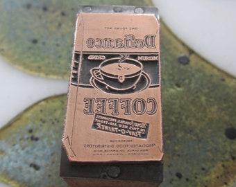 Defiance Coffee Bag Vintage Letterpress Printing Block