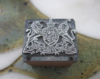 Scottish Rite Sovereign Crest Freemason Antique Letterpress Printing Block