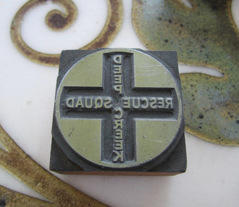 Deep Creek Rescue Squad Antique Letterpress Printing Block