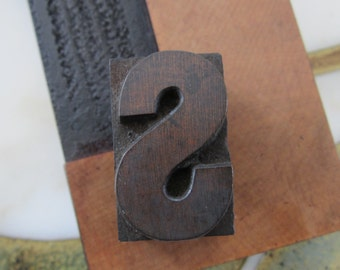 Antique Letterpress Wood Type Printers Block Letter S