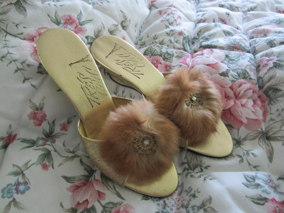 Boudoir Mule Tres Chic Slippers Feathers Gold Size