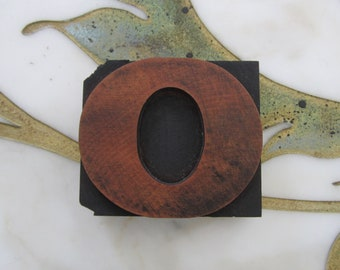 Letter O Antique Letterpress Wood Type Printing Block Wide Number Zero 0