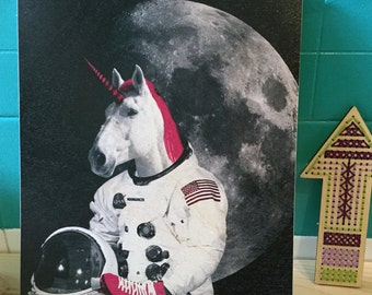 Wood Print: Astronaut Unicorn, Print on Wood, Wall Art Prints, Wood Artwork, Unicorn Art, Unicorn Print, Unicorn Artwork