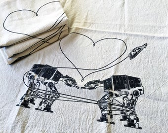 Kitchen Towel: Love AT-AT First Sight, Star Wars Tea Towel, Star Wars Kitchen Towel, Star Wars Parody Kitchen Towel