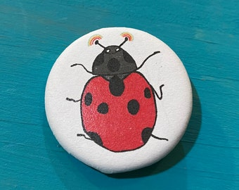 "1.25"" Button - Ladybug Rainbows (pack of ten)"