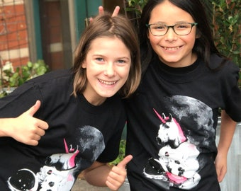 Kid Shirts: Astronaut Unicorn, Roller Derby Shirt for Kids, Black Unicorn Shirt, Kids Youth Boy or Girl Shirt