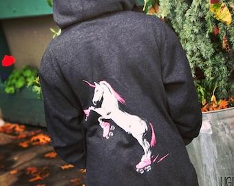 Roller Skating Unicorn Hoodie - Funny Unicorn Hoodie, Roller Derby Hoodie, Roller Derby Gifts, Zip Hoodie, Unicorn Sweatshirt