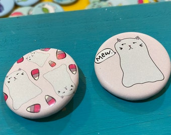 """1.25"""" Button - Ghost Kitty (pack of ten)"""