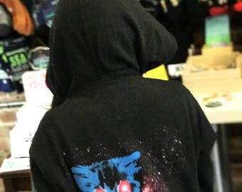 Meta Laser Cat Funny Cat Unisex Zip Up Hoodie, Funny Cat Hoodie, Laser Cat, Space Cat, Galaxy Cat Zip Up