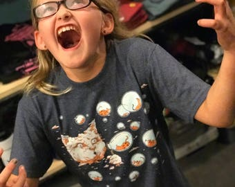 Kid Shirts: Bubble Cat, Cat Shirt for Kids, Blue Cat Shirt, Kids Youth Boy or Girl Shirt