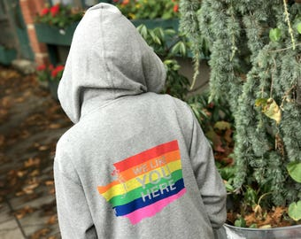 Washington Gay Pride Hoodie: We Like You Here - Bisexual Pride, LGBTQIA Pride, Bi Pride, Pride Hoodie, Pride Flag, Gay Pride Hoodie, Zip Up
