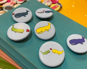 """1.25"""" Button - Whales (pack of 10)"""