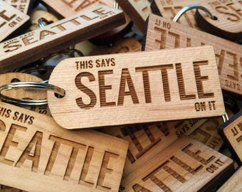 Seattle Keychain This Says Seattle On It , Seattle Keepsake, Funny Seattle Souvenir, Gifts From Home