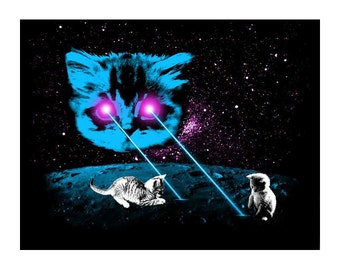 Funny Cat Postcard: Meta Laser Cats Postcard with Kittens, Laser Space Cat, Laser Eyes Space Cat, Laser Beam Space Cat,