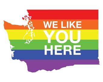 Washington Gay Pride Postcard: We Like You Here - Bisexual Pride, LGBTQIA Pride, Bi Pride, Pride Postcard, Pride Flag, Gay Pride Postcard
